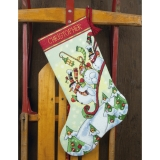 Sledding Snowman Stocking