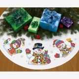 Three Snowmen Tree Skirt