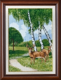 Birches and reindeer