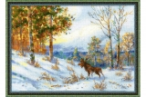 ELK IN A WINTER FOREST AFTER V. L. MURAVYOV'S PAINTING