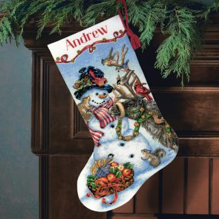 Snowman Gathering Stocking