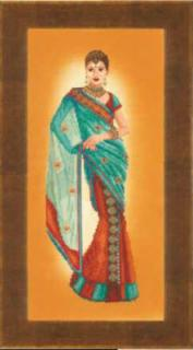 Indian Lady, Blue Sari 27