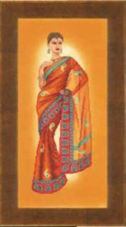 Indian lady, Orange Sari 27